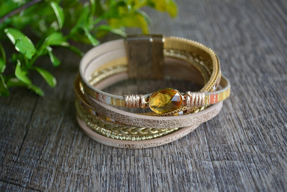 Women's Magnetic Leather Bracelet - Gold Yellow Stone Bracelet - Dream Lily Designs