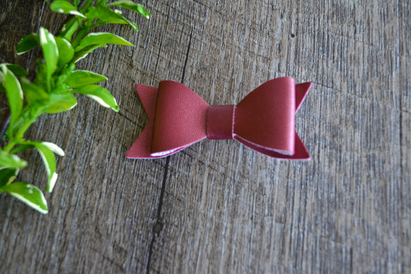 Shiny Maroon Leather Bow - Dream Lily Designs
