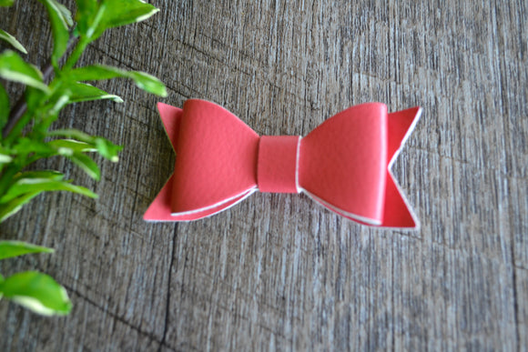 Salmon Leather Bow - Dream Lily Designs