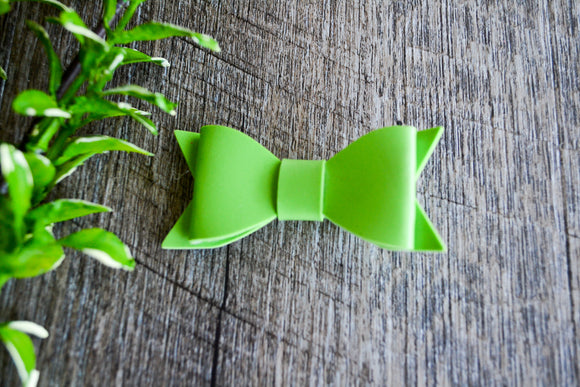Light Green Leather Bow - Dream Lily Designs