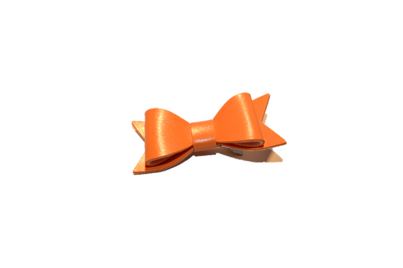 Orange Leather Bow - Dream Lily Designs