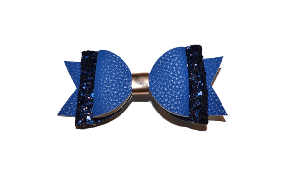 Blue Glitter and Leather Hair Bow 1