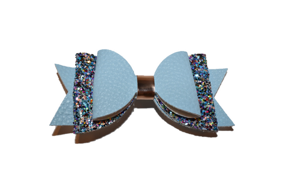 Light Blue Glitter and Leather Hair Bow 1