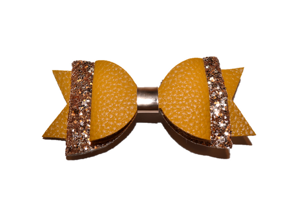 Mustard Yellow Glitter and Leather Hair Bow 1