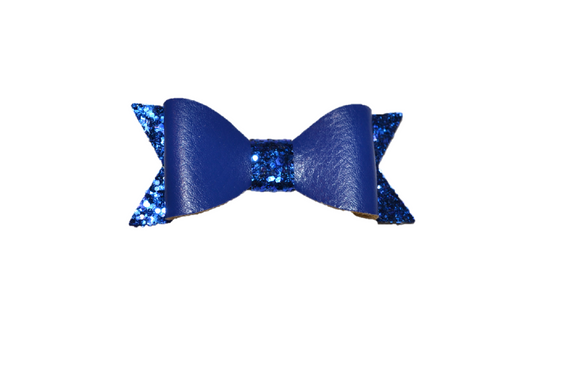 Royal Blue Leather and Glitter Bow