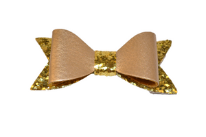 Gold Leather and Glitter Bow - Dream Lily Designs