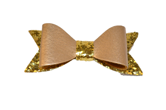 Gold Leather and Glitter Bow