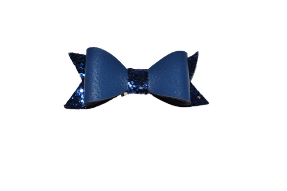 Navy Blue Leather and Glitter Bow