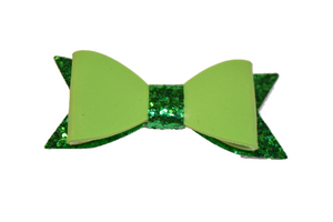 Green Leather and Glitter Bow - Dream Lily Designs