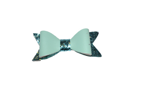 Aqua Blue Leather and Glitter Bow - Dream Lily Designs