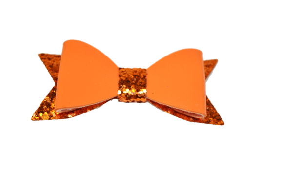 Orange Leather and Glitter Bow