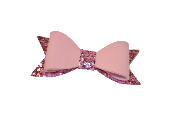 Light Pink Leather and Glitter Bow - Dream Lily Designs