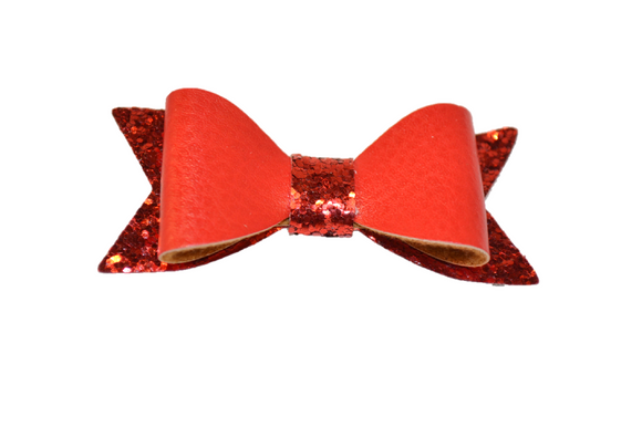 Red Leather and Glitter Bow - Dream Lily Designs