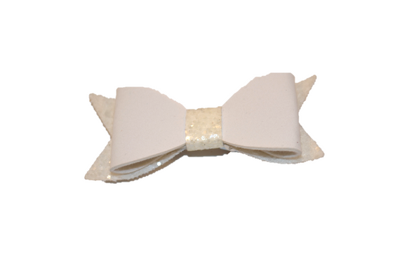 White Leather and Glitter Bow