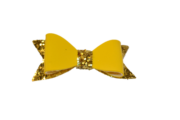 Yellow Gold Leather and Glitter Bow - Dream Lily Designs