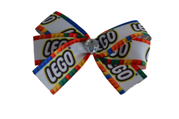 1 Inch Lego White Pattern Bow (Misc Patterns) - Dream Lily Designs