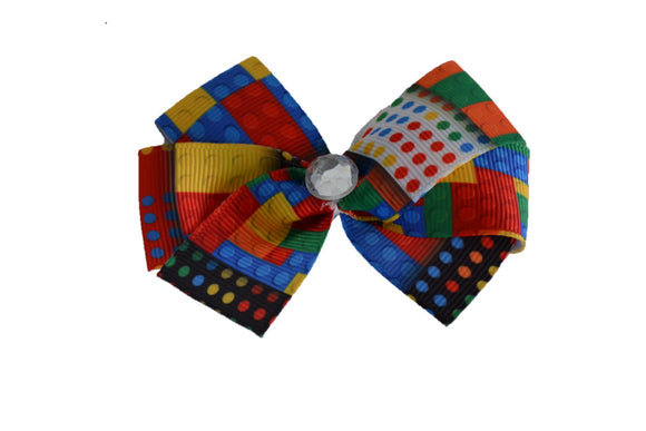 1 Inch Lego Color Pattern Bow (Misc Patterns) - Dream Lily Designs
