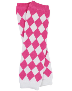 Pink and White Diamond Leg Warmers - Dream Lily Designs