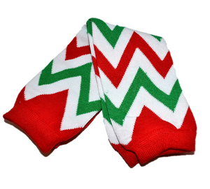 Red Green and White Chevron Leg Warmers - Dream Lily Designs