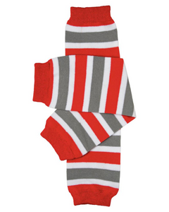 Red Grey and White Leg Warmers - Dream Lily Designs