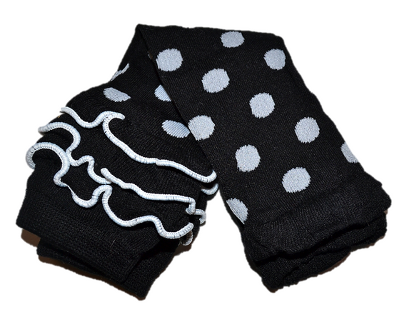 Black and White Polka Dot with Ankle Ruffles Leg Warmers