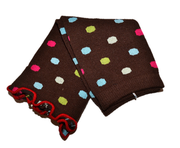 Brown and Polka Dot Ankle Ruffle Leg Warmers - Dream Lily Designs