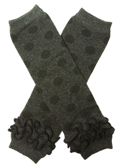 Grey and Black Polka Dot Ankle Ruffle Leg Warmers - Dream Lily Designs
