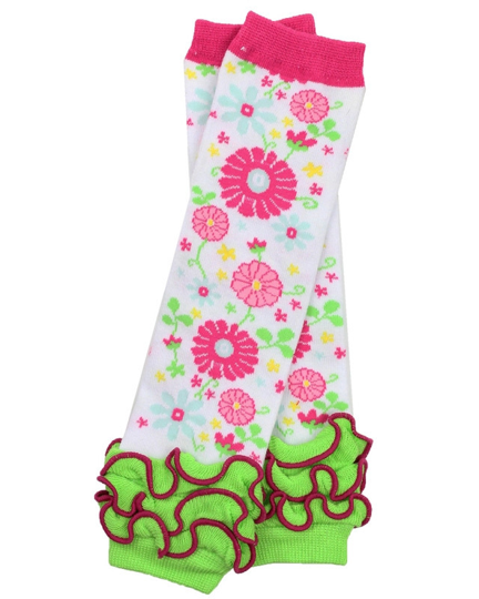 Flowers with Green Ankle Ruffle Leg Warmers