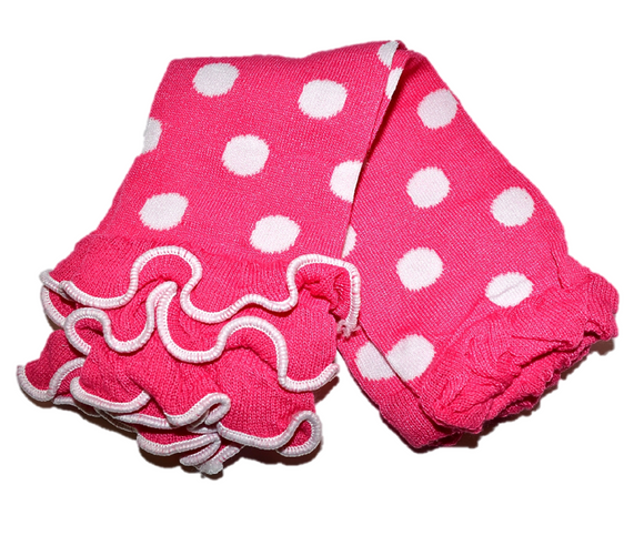 Pink Polka Dot with Ankle Ruffle Leg Warmers