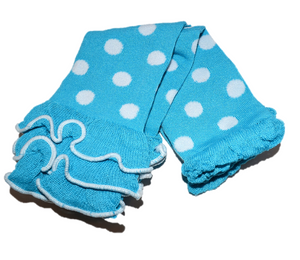 Blue and White Polka Dot with Ankle Ruffle Leg Warmers - Dream Lily Designs