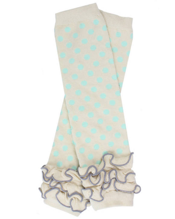 Cream and Aqua Polka Dot with Ankle Ruffle Leg Warmers - Dream Lily Designs