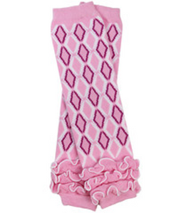 Pink Purple and White Diamond with Ankle Ruffle Leg Warmers - Dream Lily Designs