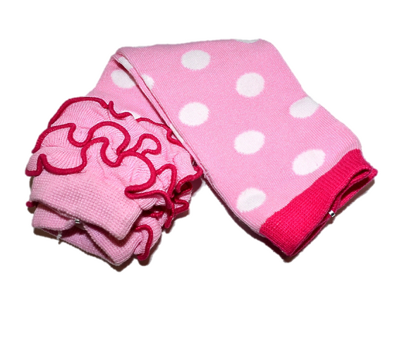 Pink and White Polka Dot with Ankle Ruffle Leg Warmers - Dream Lily Designs