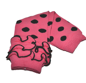 Pink and Black Polka Dot with Ankle Ruffle Leg Warmers - Dream Lily Designs