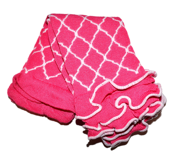 Pink Quatrefoil with Ankle Ruffle Leg Warmers