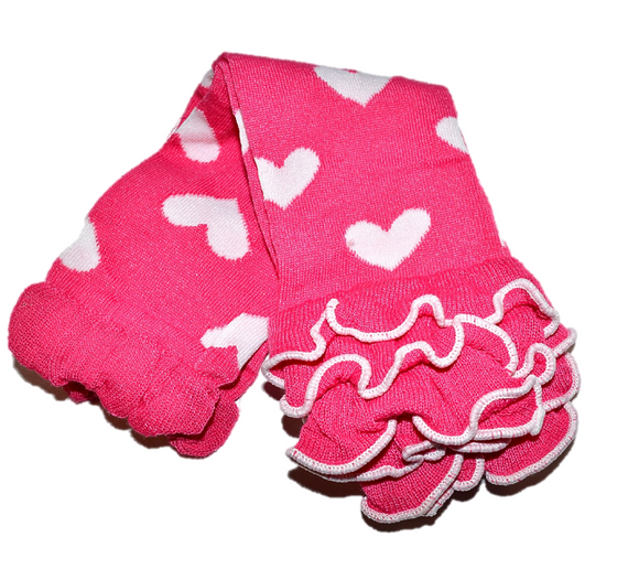 Hot Pink with White Hearts and Ankle Ruffle Leg Warmers