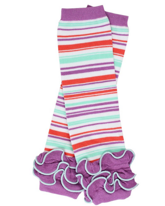 Purple Coral and Aqua Striped with Ankle Ruffle Leg Warmers - Dream Lily Designs