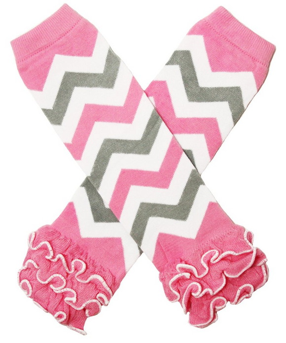 Pink Grey and White with Ankle Ruffle Leg Warmers - Dream Lily Designs