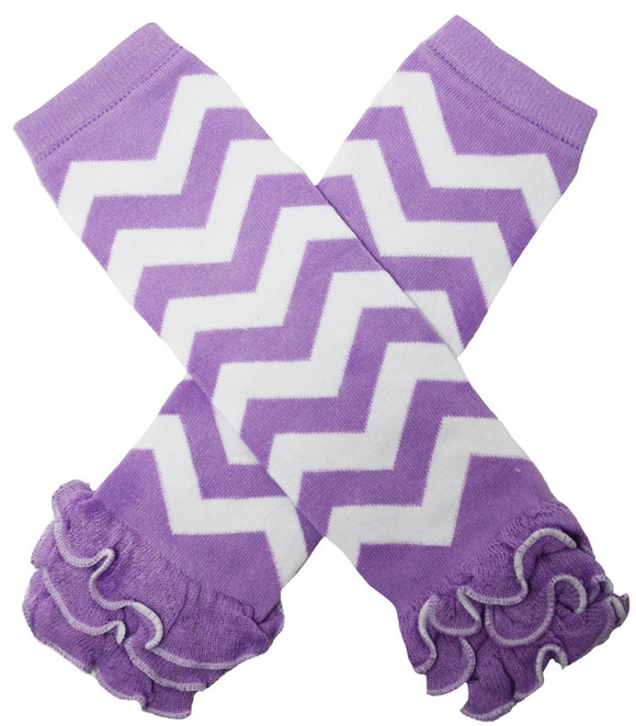 Purple Chevron with Ankle Ruffle Leg Warmers