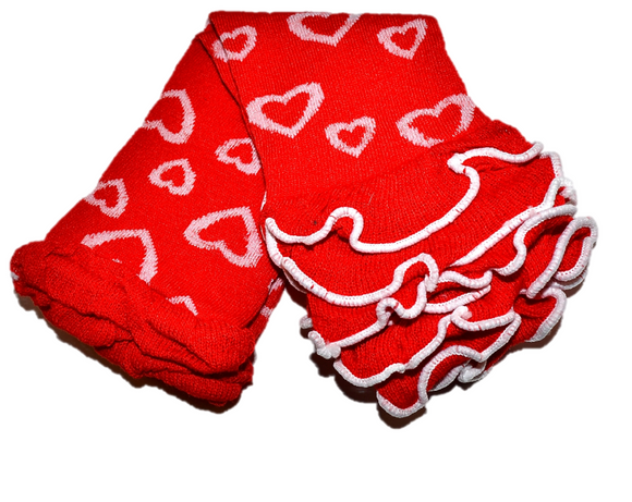 Red Hearts with Ankle Ruffle Leg Warmers