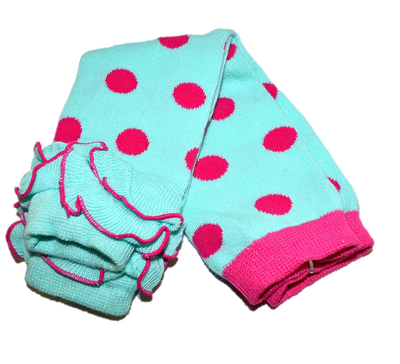 Teal and Pink Polka Dot with Ankle Ruffle Leg Warmers