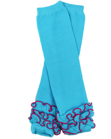 Blue with Ankle Ruffles Leg Warmers