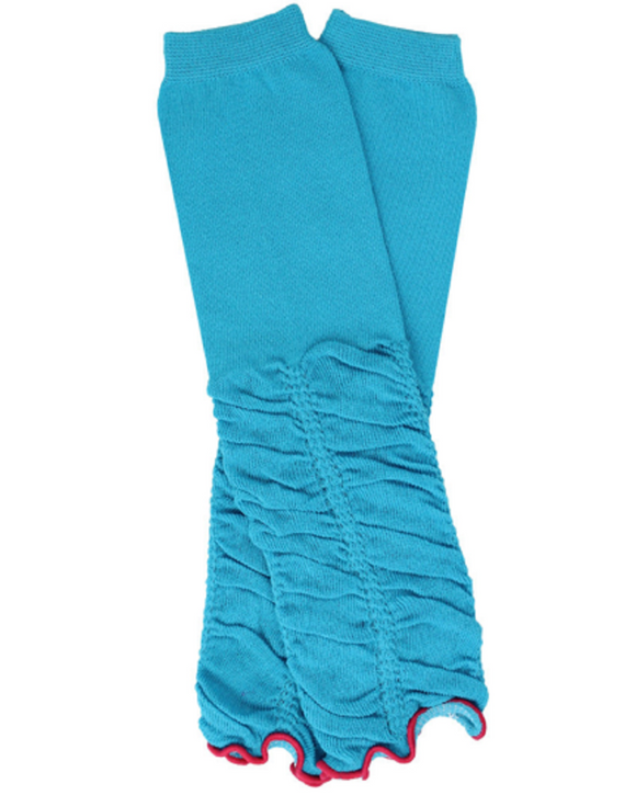 Blue Half-Ruching Leg Warmers