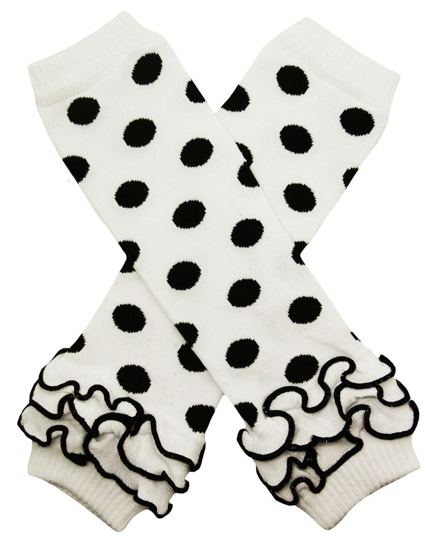 White and Black Polka Dot with Ankle Ruffle Leg Warmers