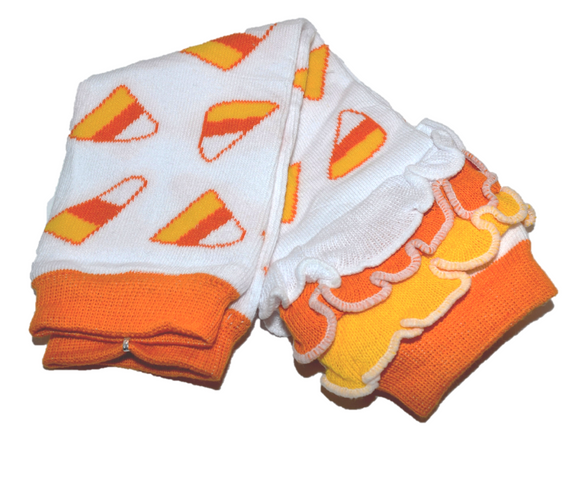 Candy Corn with Ankle Ruffle Leg Warmers