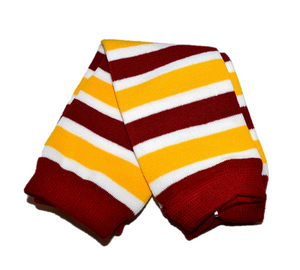 Maroon White and Yellow Leg Warmers - Dream Lily Designs