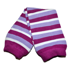 Purple and White Striped Leg Warmers - Dream Lily Designs