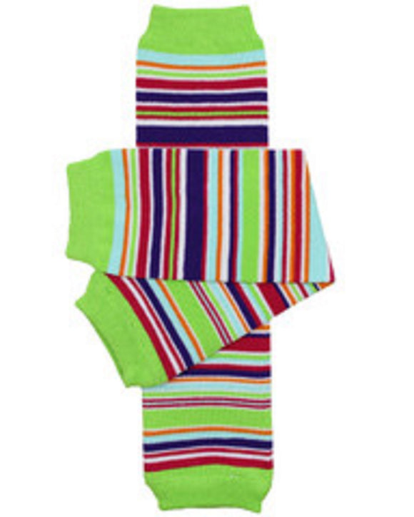 Purple Blue Green Hot Pink Orange White Stripe Leg Warmers