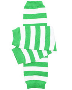 Green White Stripe Leg Warmers - Dream Lily Designs