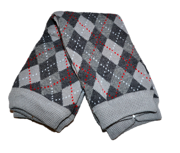 Grey Diamond Red Stripe Leg Warmers - Dream Lily Designs